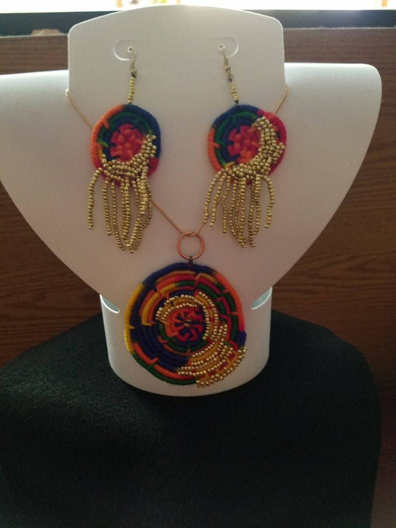 on an 18 Rose Gold chain with lobster clasp, Yarn coiled hand beaded Crayon colors Necklace and Drop Dangle Earring Set