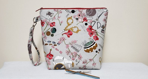 Floral Cross Stitch Bag Handmade Cross Stitch Bag Project Bag \u2013 Knitting Bag \u2013 Crochet Bag Fox Drawstring Bag Toy Sack Foxes