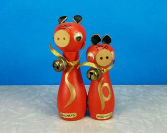 Vtg Wood Pigs with Bells Magnetized Salt and Pepper Shakers - Red Mid-Century Pigs