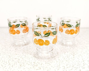 Vtg Orange Juice Glasses Set of 4 - Oranges and Green Leaves - 1960's Juice Glasses