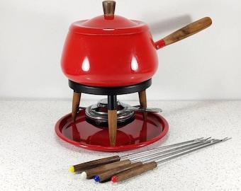 Vtg Apple Red Fondue Pot Set - Complete Set with Forks! - 70's Fondue Party - Fondue Night