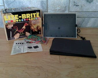Vtg 1973 Hasbro Lite-Brite in Original Box with Light Bulb and 4 Unused Sheets - Works Great