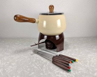 Vtg Cream and Brown Fondue Set with Forks - Complete Fondue Set - Retro Fondue Party