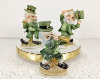 Vtg St. Patrick's Leprechaun's Figurines Set of 3 - Playing Instruments - Dancing Green Figures by Lefton