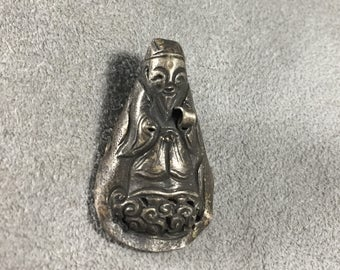 Qing Dynasty Chinese Immortal Child's Silver Hat Ornament Silver Repousse