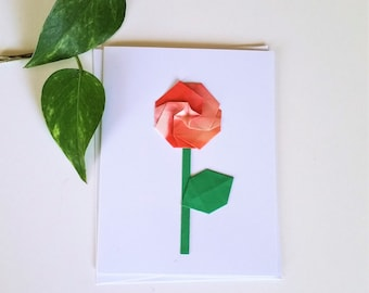 Origami flower card etsy origami rose flower greeting card thank you card get well soon card thinking of you card mightylinksfo