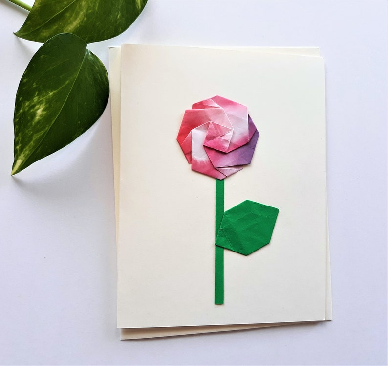 Origami Rose Flower Greeting Card Get Well Soon Card Thinking Of You Card Thank you card
