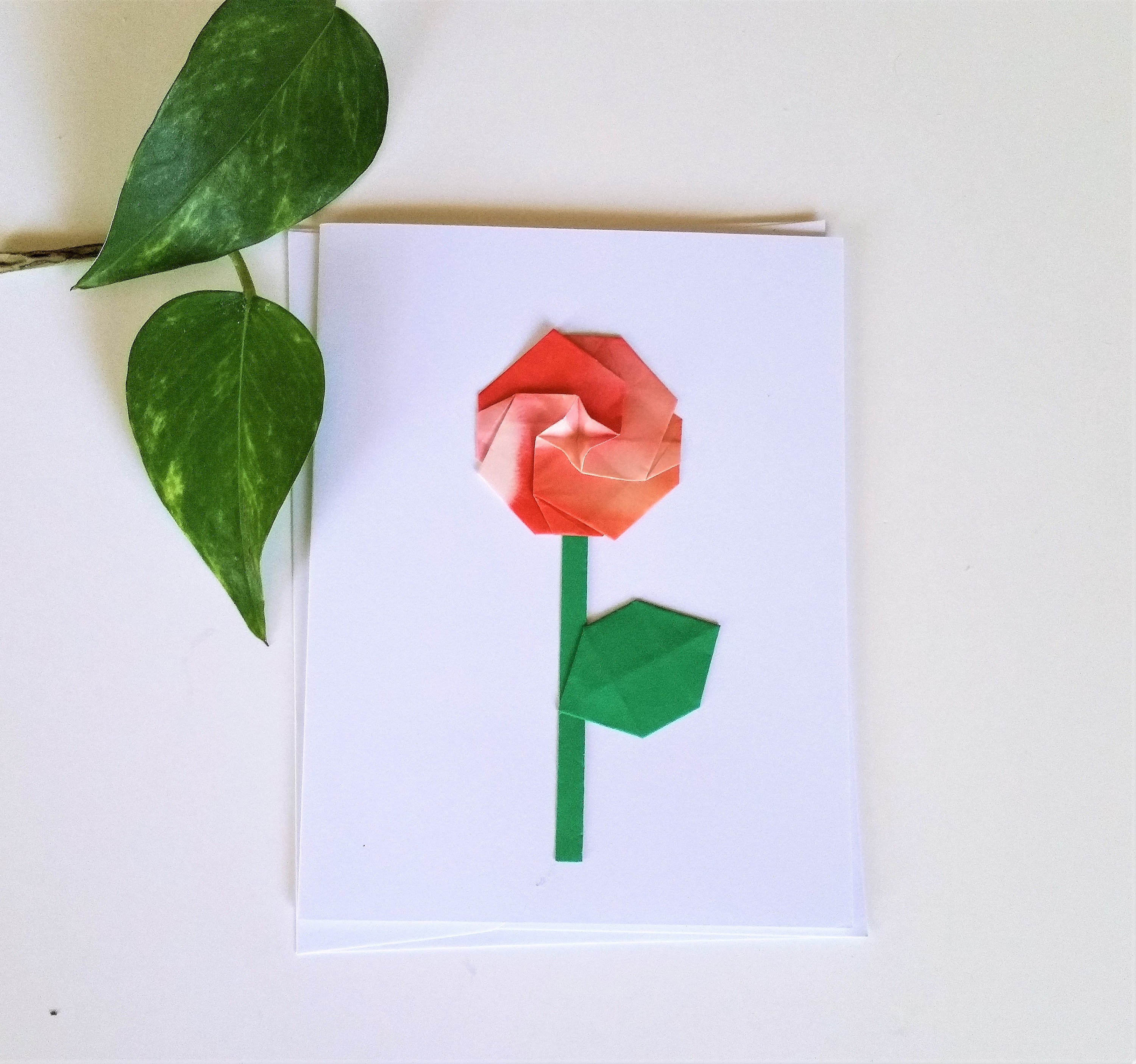 Origami Rose Flower Greeting Card Thank You Card Get Well Etsy