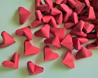 100 Red origami hearts