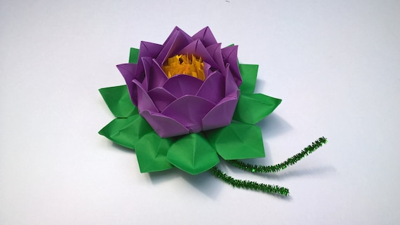 20 Petals Lotus With Stamina Paper Lotus Flower Water Lily Etsy