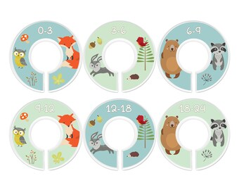 Baby Closet Dividers, Woodland Animals, Set of 6 Size Organizers