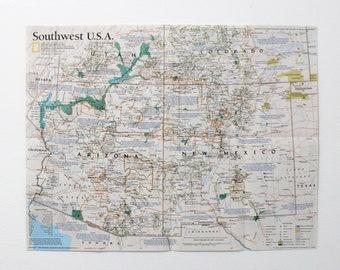 Southwest Usa Map Etsy - Map-of-south-west-us