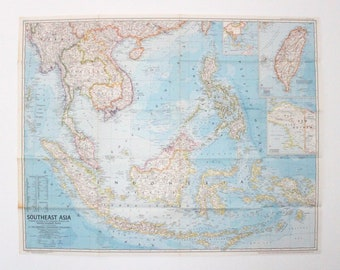 Geographical Map Of Southeast Asia.Southeast Asia Map Etsy