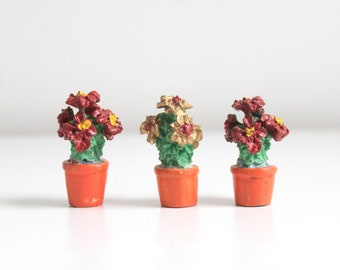 Miniature Potted Flowers Miniature Potted Plant Dollhouse Potted Flowers Dollhouse Potted Plant Miniature Flowers Miniature Plants, Set of 3