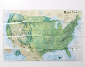 Vintage Us Map Etsy - National-geographic-us-map
