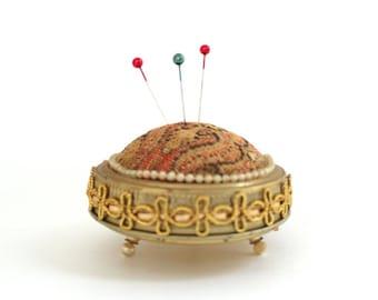Vintage Pincushion, Tapestry Pincushion, Gold Pincushion, Fabric Pincushion, Jar Lid Pincushion, Vintage Sewing Supplies Gift for Seamstress