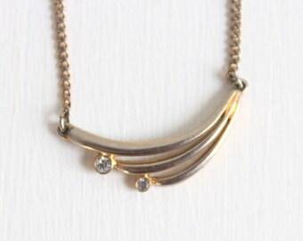 Gold Necklace, Rhinestone Necklace, Delicate Gold Necklace, Delicate Rhinestone Necklace, Gold Charm Necklace, Rhinestone Charm Necklace