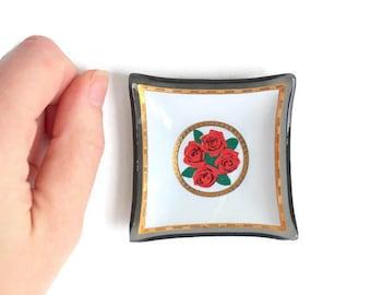 Red Rose Ring Dish, Rose Ring Dish, Red Rose Trinket Dish, Rose Trinket Dish, Black Ring Dish, Red Ring Dish, Black Trinket Dish Red Trinket