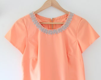Peach Dress, Peach Maxi Dress, Embellished Dress, Maxi Dress, Embellished Maxi Dress Applique Dress Applique Maxi Dress Peach Applique Dress