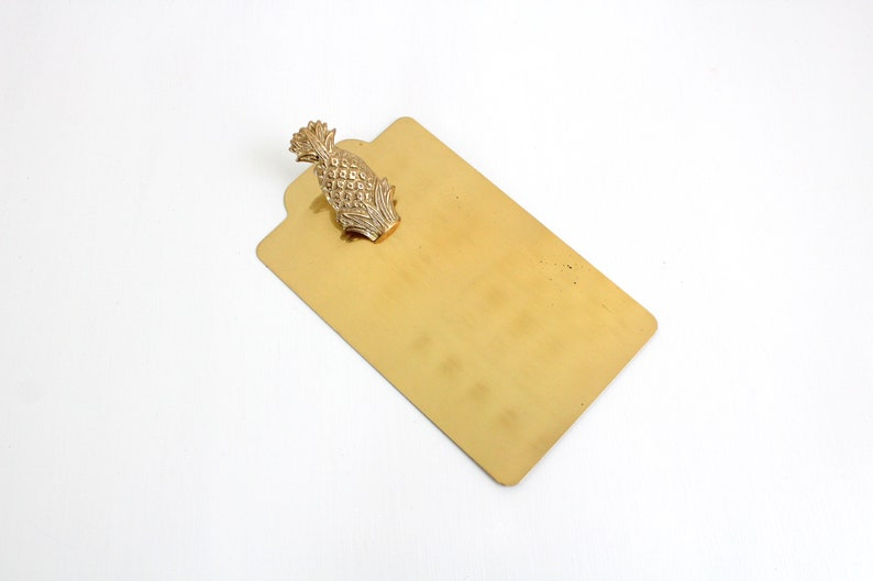 Vintage Brass Clipboard Pineapple Clipboard Small Brass image 0
