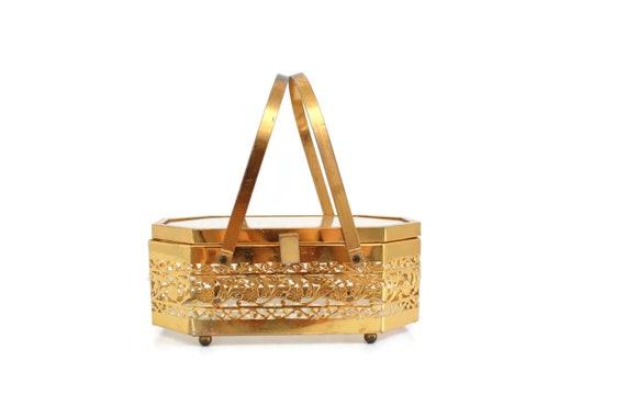 Vintage Brass Box Purse, Vintage Box Purse, Gold … - image 2