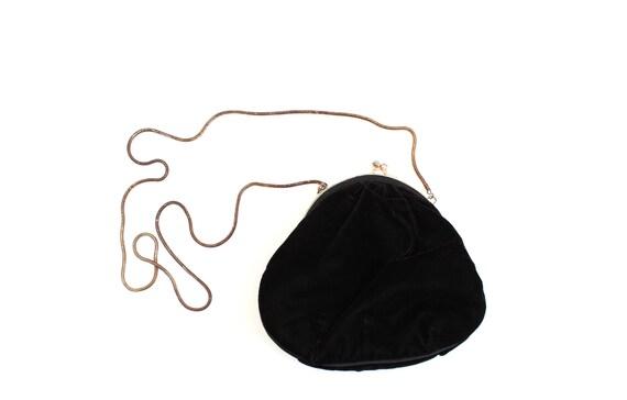 Vintage Black Velvet Purse with Gold Chain Strap,
