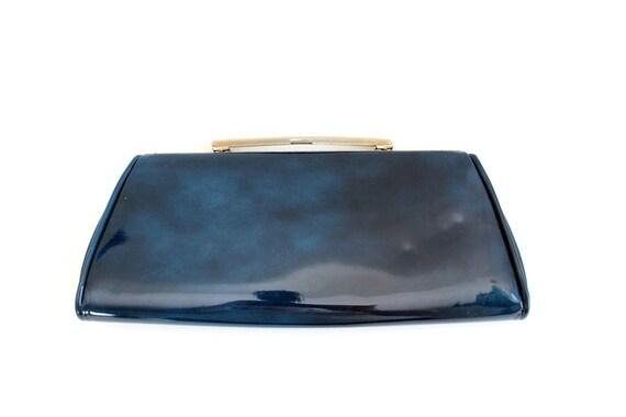 Vintage Navy Blue Marbled Clutch Purse, Navy Blue