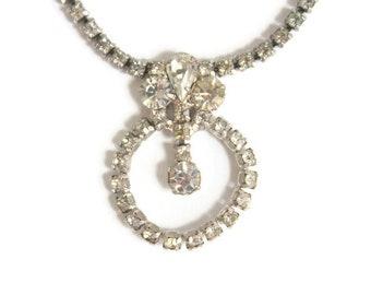 Vintage Rhinestone Necklace, Clear Rhinestone Necklace, Rhinestone Necklace, Vintage Necklace, Wedding Necklace, Bridal Necklace, Necklace
