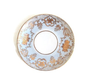 Light Blue & Gold Saucer, Light Blue Ring Dish, Blue Ring Dish, Periwinkle Ring Dish, Gold Ring Dish, Light Blue Saucer, Blue Trinket Dish