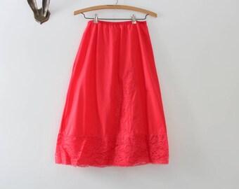 Vintage Slip, Pink Slip, Coral Slip, Half Slip, Pink Lace Slip, Coral Lace Slip, Pink Half Slip, Coral Half Slip, Lace Slip Vintage Lingerie