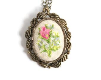 Petit Point, Petit Point Necklace, Cross Stitch Necklace, Needlepoint Necklace, Rose Necklace, Embroidered Necklace, Rose Petit Point, Rose