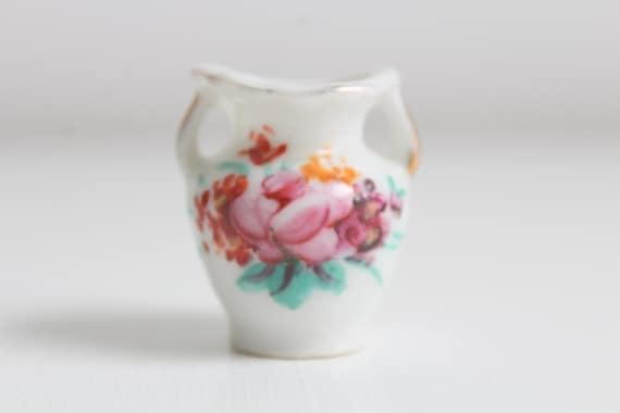 Miniature Vase, Dollhouse Vase, Mini Vase, Floral Vase, Flower Print on