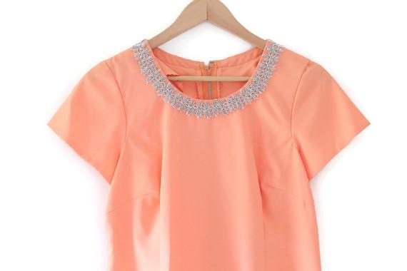 Peach Dress, Peach Maxi Dress, Embellished Dress,