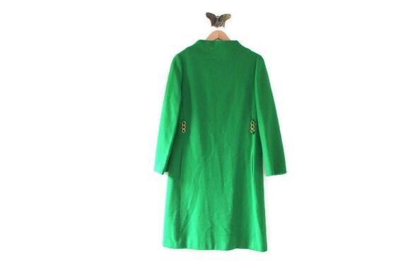 Green Dress, Kelly Green Dress, Green Wool Dress,