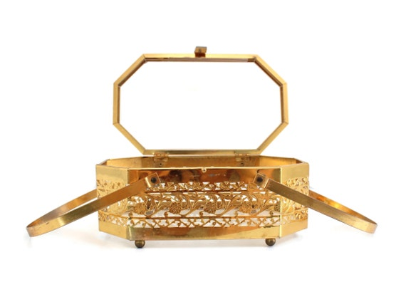 Vintage Brass Box Purse, Vintage Box Purse, Gold … - image 8