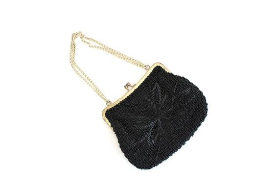 Vintage Black Beaded Purse, Black Purse, Beaded Pu