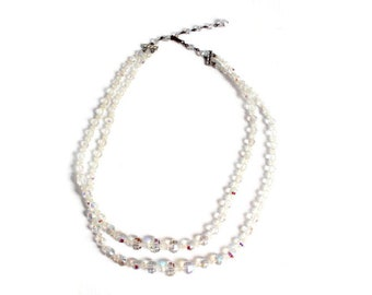 Aurora Borealis Necklace, Double Strand, Crystal Aurora Borealis Necklace, Crystal Necklace, Iridescent Necklace, Rainbow Necklace, Beaded