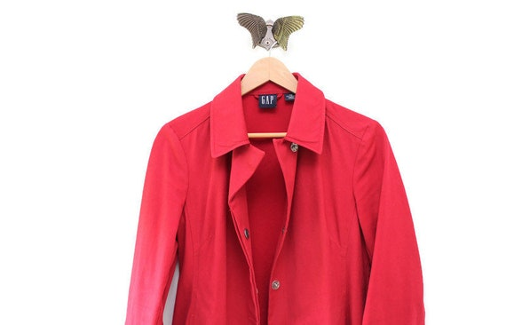 Vintage Red GAP Trench Coat, Red Trench Coat, Vint