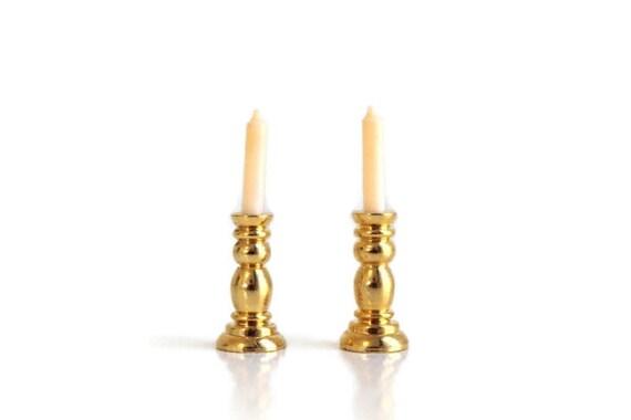 Dollhouse Miniature 1:12 Gold Single Candlestick Mini Candle Holders NWUS