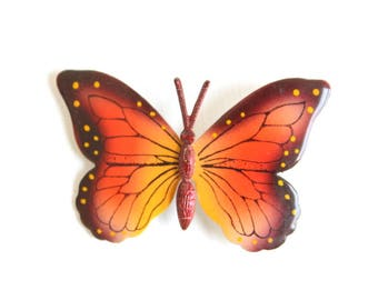 Butterfly Pin, Butterfly Brooch, Painted Butterfly Pin, Painted Butterfly Brooch, Orange Butterfly Pin, Orange Butterfly Brooch, Butterfly