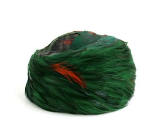 Vintage Pillbox Hat, Green Pillbox Hat, Feathered Pillbox Hat, Green Hat, Green Feathered Hat, Green Feathered Pillbox, Feathered Hat