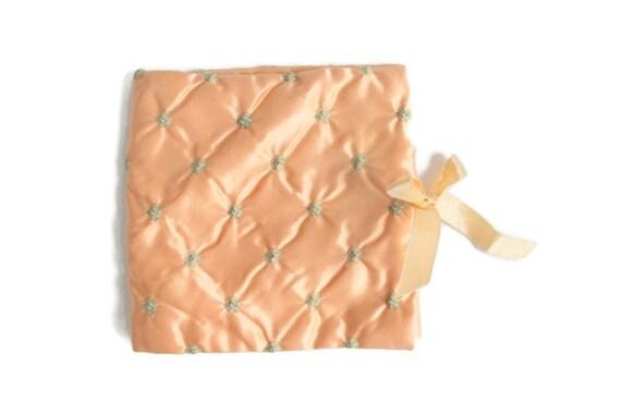Vintage Lingerie Pouch, Lingerie Bag, Peach Linger