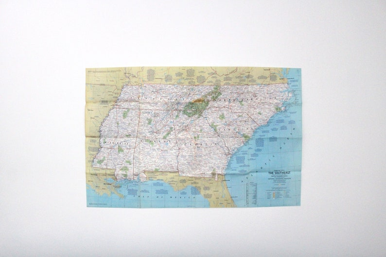 Vintage 1975 National Geographic Double Sided Wall Map of image 0