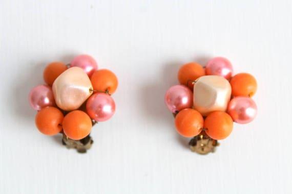 Orange Earrings, Peach Earrings, Orange Clip On Ea