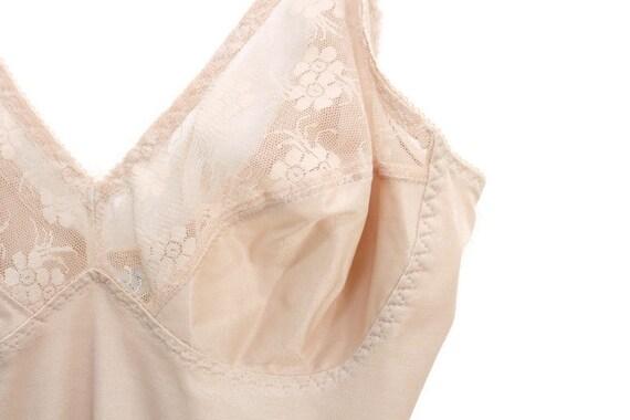 Nude Vintage Slip, Nude Slip, Nude Lace Slip, Ful… - image 4