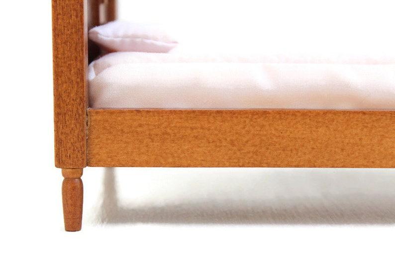 Wooden Dollhouse Bed Dollhouse Bedroom Black Miniature Bed Wooden Miniature Bed Miniature Bed Dollhouse Bed Black Dollhouse Bed