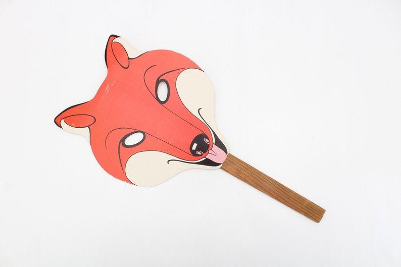 Vintage Wooden & Cardboard Fox Mask Vintage Fox Mask Fox image 0