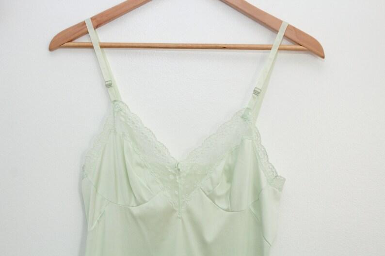 Green Vintage Slip Green Slip Green Lace Slip Full Slip image 0