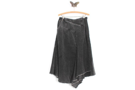 Vintage Gray Corduroy Midi Skirt, Gray Corduroy Ma