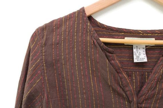 Vintage Brown Metallic Striped Long Sleeve Shirt w